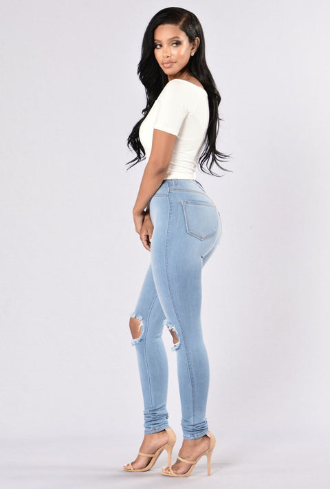 High Waist Knee Ripped Button Up Jeans gallery 7