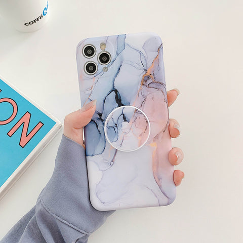 Pop Marble Grains iPhone Case with Phone Holder