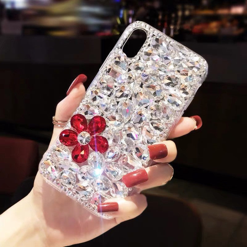 Clear Floral Full Rhinestone Cover iPhone Case