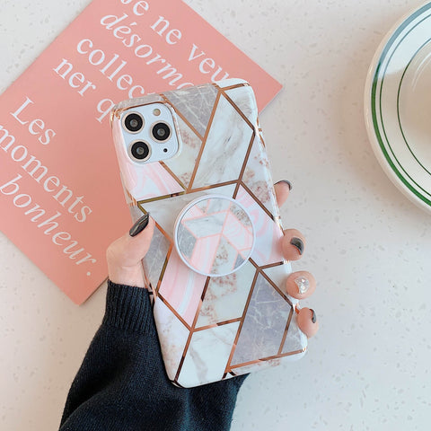 Rhombus Stitching Marble Phone Case for Samsung with Phone Holder gallery 12