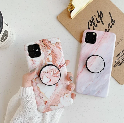 Pink Marble Print iPhone Case with Phone Holder