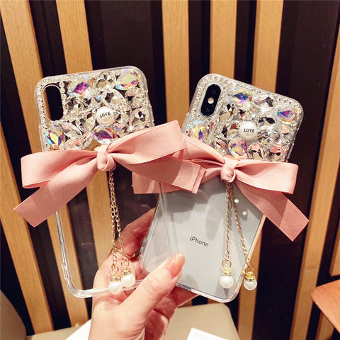 Bowknot Half Transparent & Rhinestone Phone Case for Samsung gallery 8