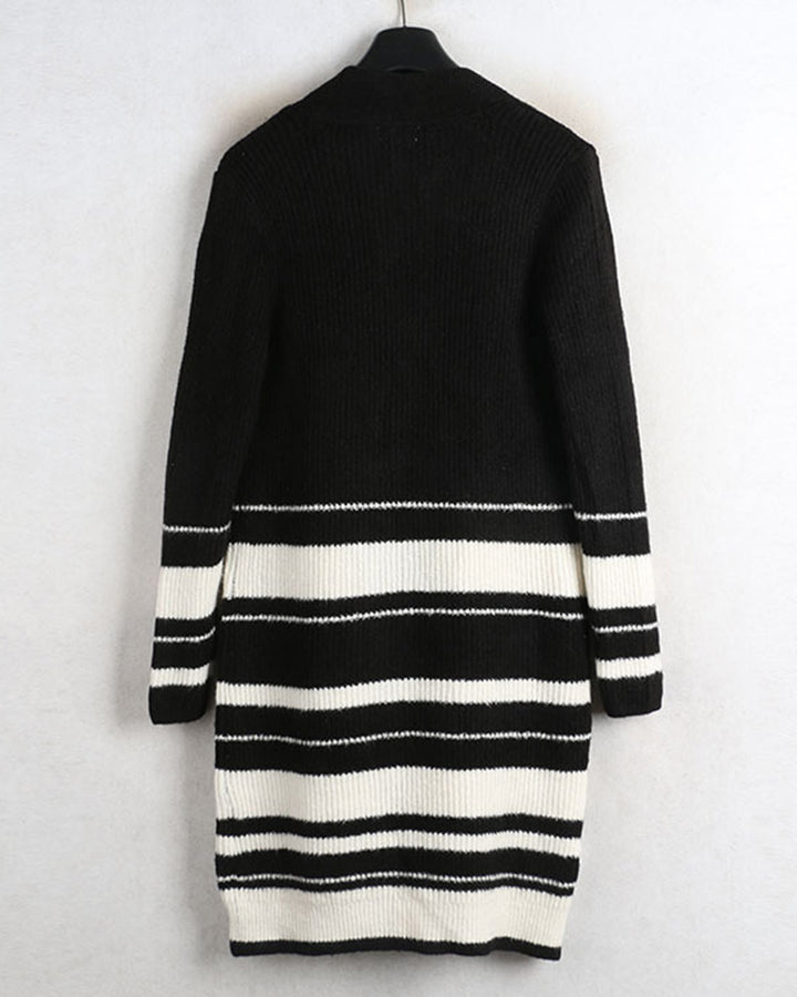Striped Rib-Knit Dual Pocket Open Front Cardigan gallery 4