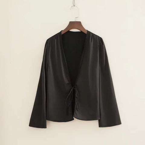 Satin Tie Front Long Sleeves Loose Cape Shirt gallery 6