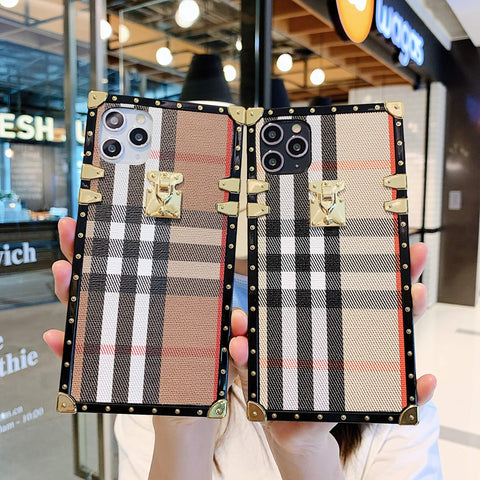 Plaid Pattern Rivet Decorated Square iPhone Case with Hand Strap