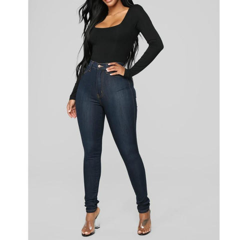 Button Up High Waist Skinny Jeans