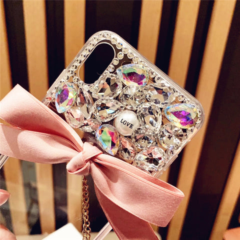 Bowknot Half Transparent & Rhinestone Phone Case for Samsung gallery 6