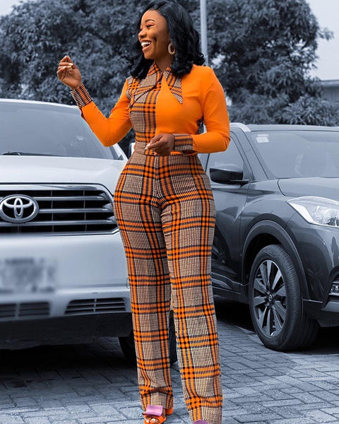 Plaid Pattern Pointed Collar Contrast Color Jumpsuit