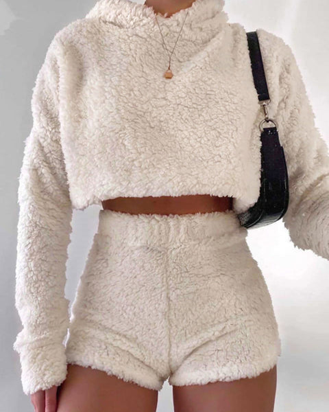 Solid Hooded Crop Teddy Sweater & Shorts Set