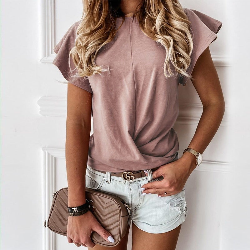 Round Neck Frill Sleeve Ruched Detail T-Shirt