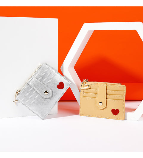 Heart Print Leather Card Holder gallery 5