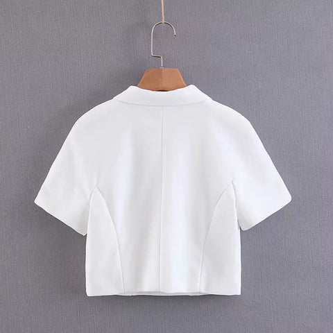 Vintage Double Breasted Turn Back Collar Cropped Shirt gallery 4