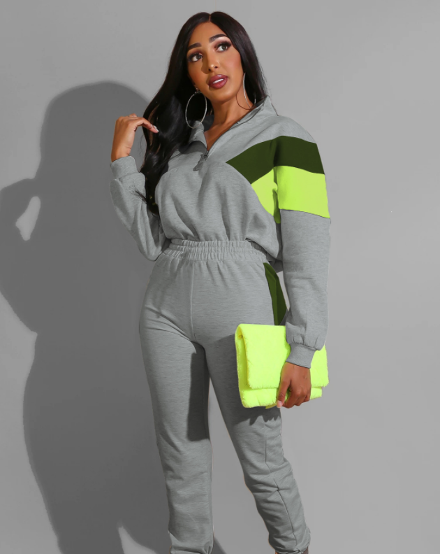 Color Block Zip Up High Neck Top & Pant Set