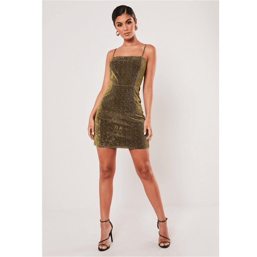 Gold Glitter Strappy Hollow Out Bow Back Skinny Mini Dress