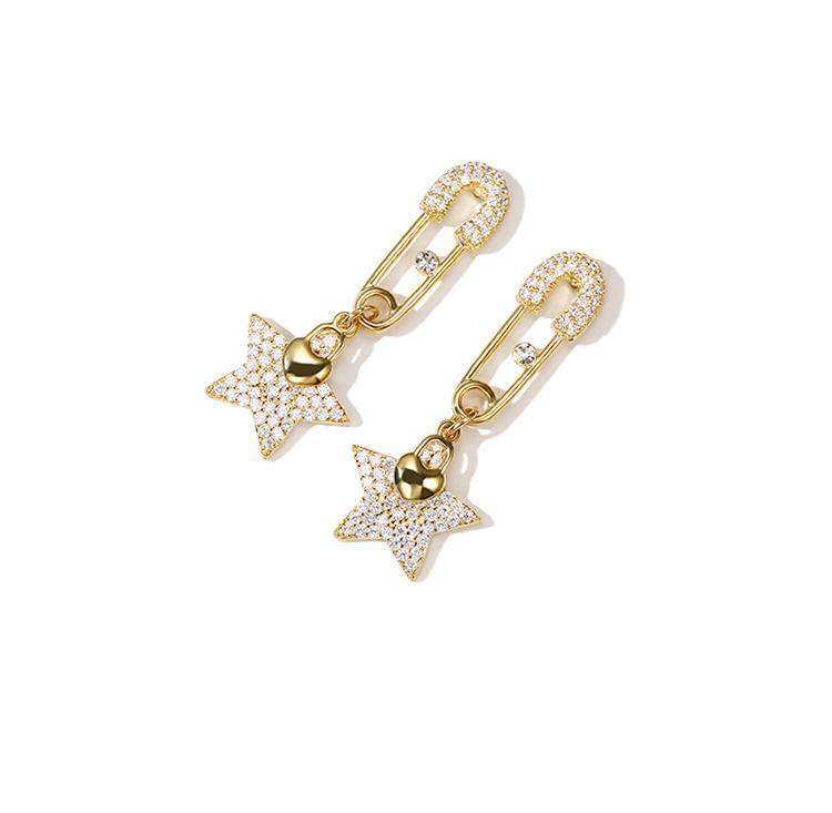 Vintage Rhinestone Pin And Star Earrings