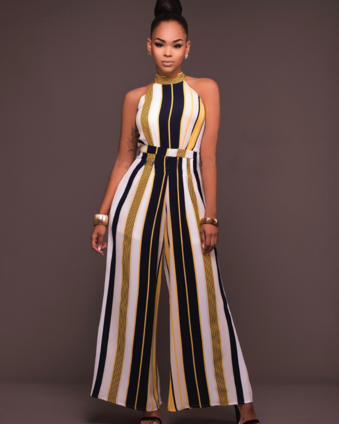 Stripes Print Belted Waist Sleeveless Jumpsuit