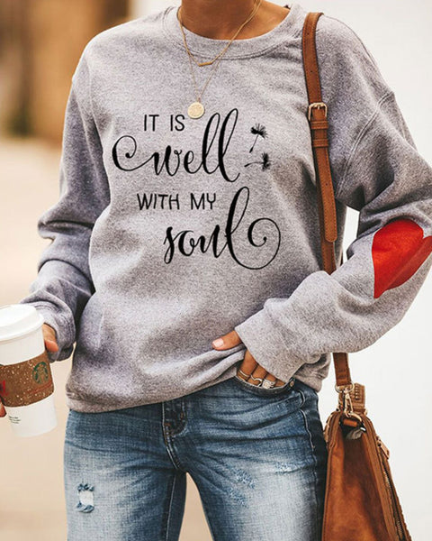Letter & Heart Graphic Drop Shoulder Sweatshirt