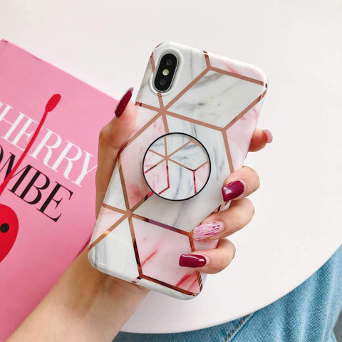 Rhombus Electroplate Marble Phone Case for Samsung with Phone Holder gallery 8