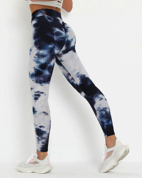 Porcelain Tie Dye Textured Butt Lifting Ruched Leggings