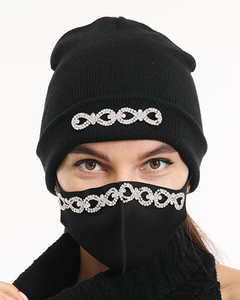 2pcs Rhinestone & Sequin Decor Face Mask & Beanie gallery 5
