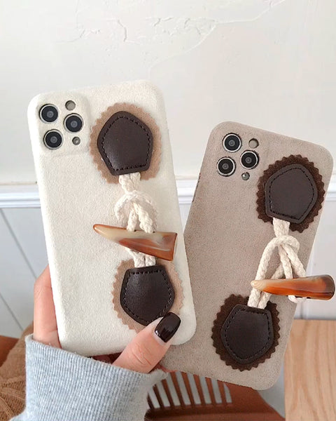 Chic Colorblock Claw Buttons Decor iPhone Case