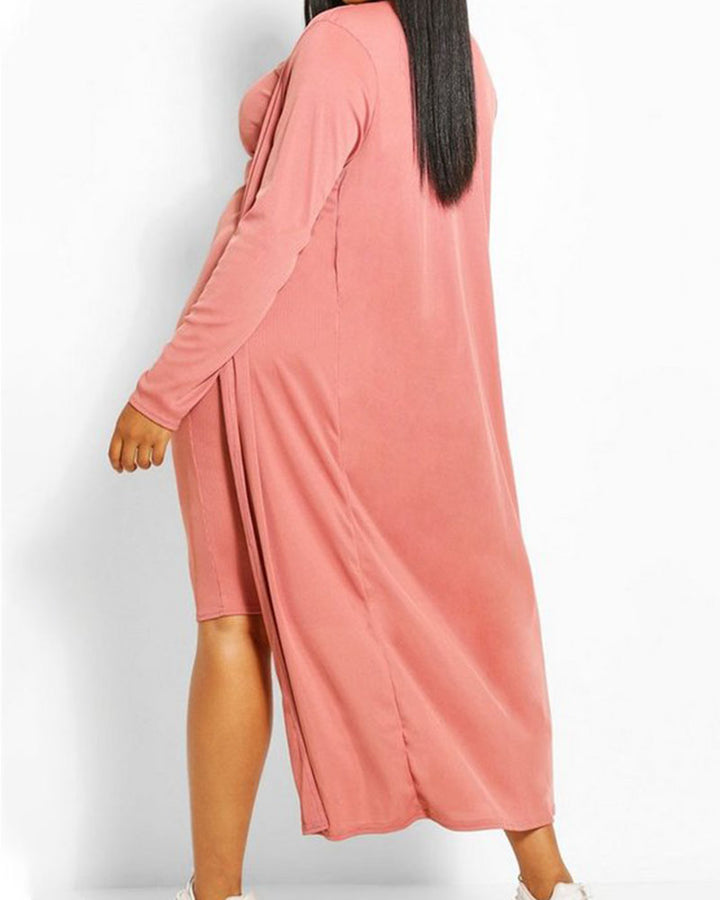Solid Square Neck Dress & Cardigan Set gallery 7