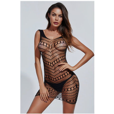 Sexy Lingerie Fishnet Babydoll Mini Dress ( 3 Pcs)
