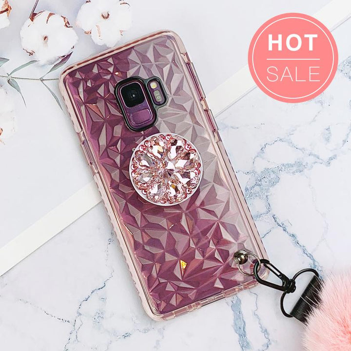Diamond-shaped Phone Case for Samsung with Phone Holder and Pom-pom gallery 1