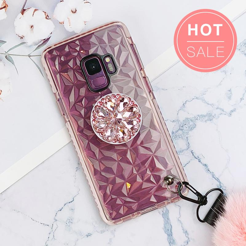 Diamond-shaped Phone Case for Samsung with Phone Holder and Pom-pom