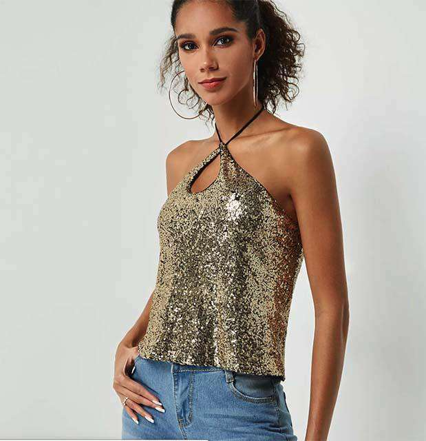 Gold Sequins Embellished Halter Cami