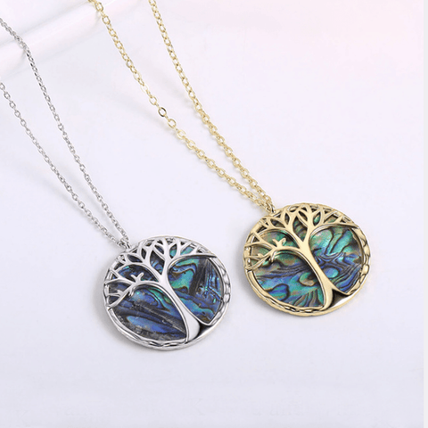 5 Colors Coin Tree Detail Pendent Necklace