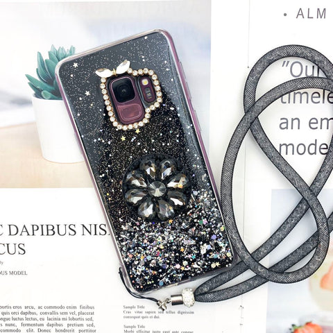 Glitter Gold Foil Phone Case for Samsung with Phone Holder and Hand Strap