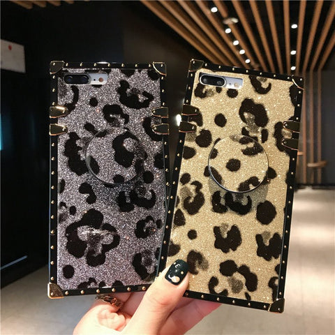 Luxury Leopard Pattern iPhone Case with Phone Holder