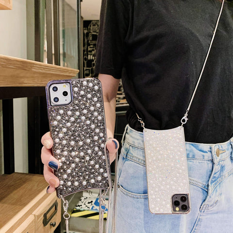 Sparkle Crystal Pearl Stud Phone Case for Samsung with Hand Strap gallery 11