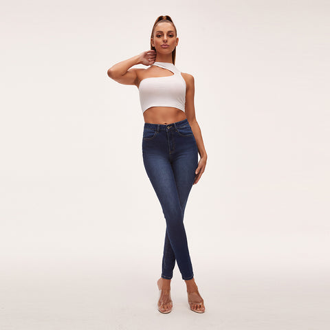 Super High Waist Butt-on Vintage Wash Skinny Jeans