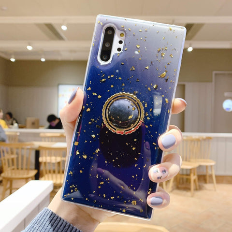 Glitter Gold Foil Phone Case for Samsung with Phone Holder