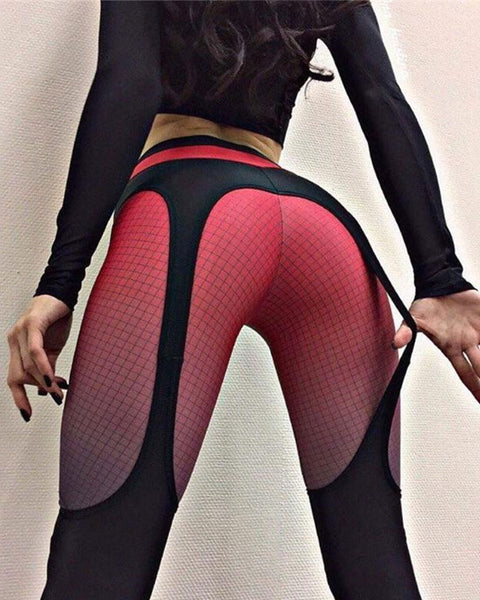 Garter Pattern Patchwork Stretch Workout Leggings