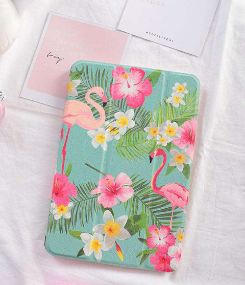 Tropical Flamingo & Flower Print iPad Cover Case gallery 3