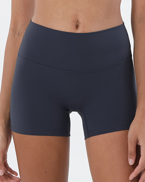Solid High Waist Sports Shorts gallery 4