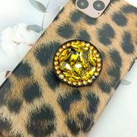 Plush Leopard Print iPhone Case with Phone Holder and Pom-pom