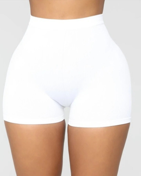 Solid Ribbed High Waist Shorts gallery 4