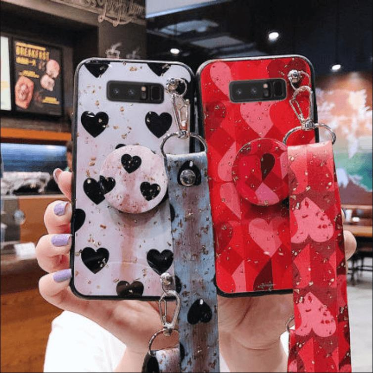 Heart Pattern Phone Case for Samsung with Phone Holder and Hand Strap