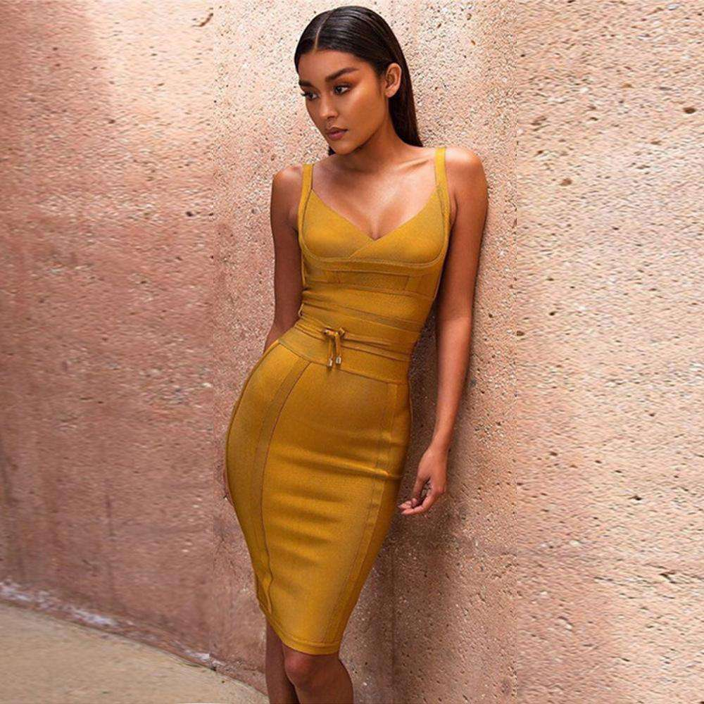 6 Colors Deep V Neck Tie Waist Bandage Dress