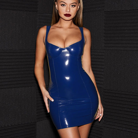 Sexy Royal Blue Patent Leather Bodycon Strappy Dress gallery 2