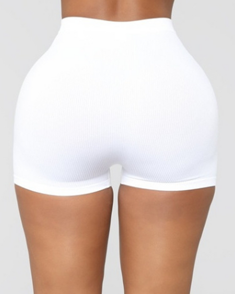 Solid Ribbed High Waist Shorts gallery 14