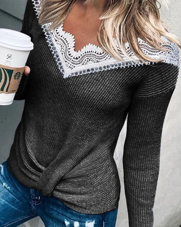 Rib Knit Contrast Lace Bodycon Sweater gallery 2
