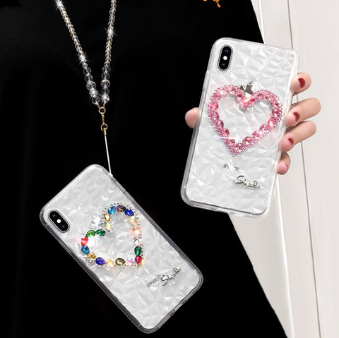 Heart Rhinestone Clear Transparent Phone Case for Samsung with Hand Strap gallery 6