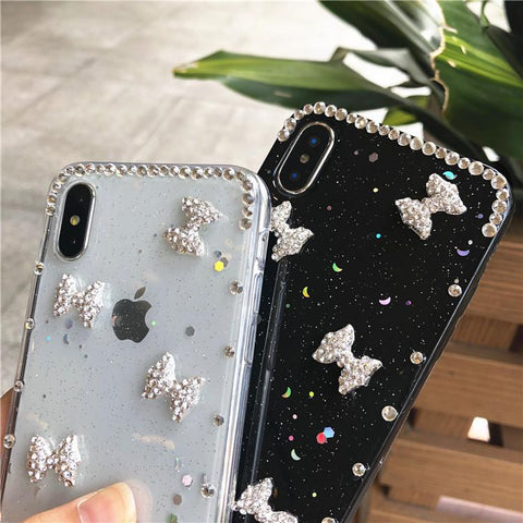 Little Bowknot Rhinestone Clear Transparent Phone Case for Samsung gallery 6
