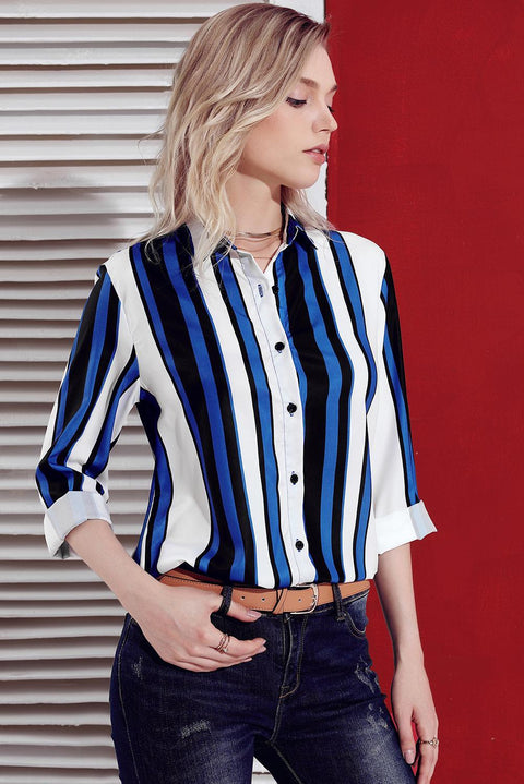 Blue White Striped Long Sleeve Button Down Shirt gallery 5