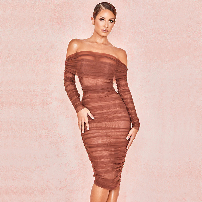 Long Sleeve Off Shoulder Mesh Ruched Bardot Midi Dress